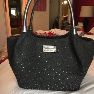 Kate Spade Wool Handbag Grey with Rhinestones